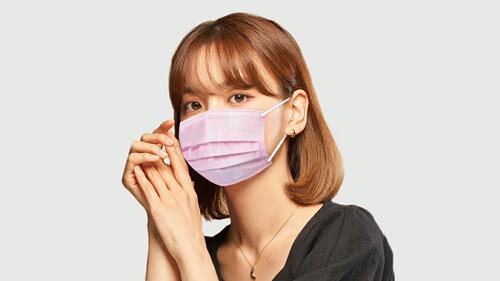 血色マスク プリーツ 鼻から顎までしっかりカバー