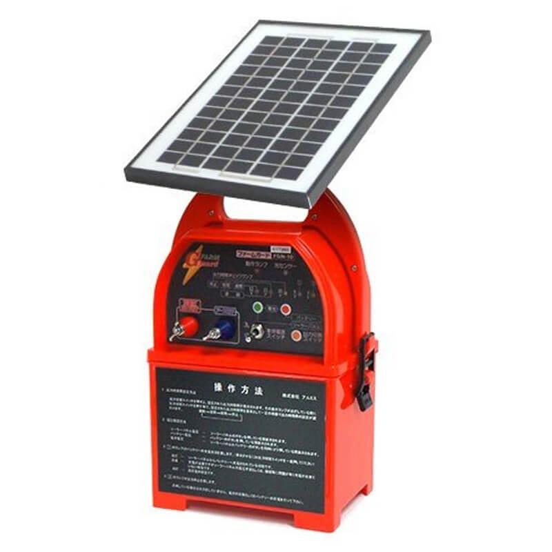 ソーラー式電気柵セット 100m×2段張り イノシシ用 FGN10 アルミス ALUMIS